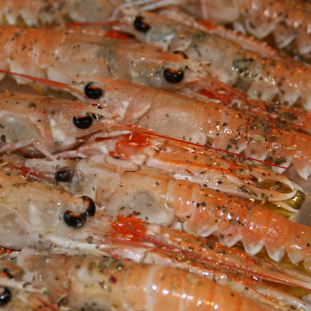 Grilled langoustine with herbs and olive oil