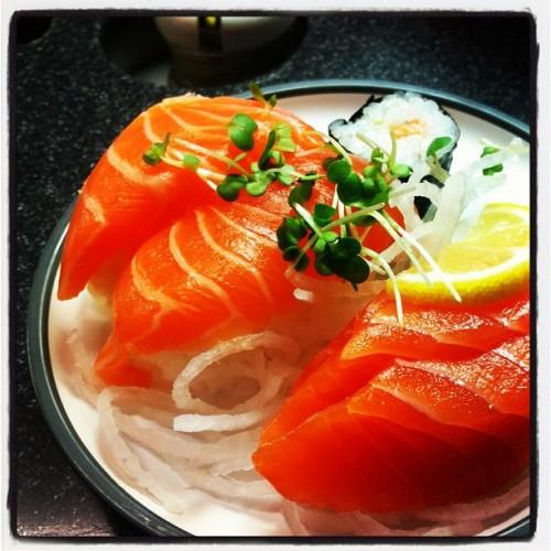 Salmon Selection Three slices of premium Scottish salmon sashimi, two salmon nigiri and two salmon maki.