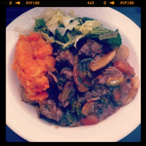 Lancashire Hotpot served with mashed swede and carrot and cabbage