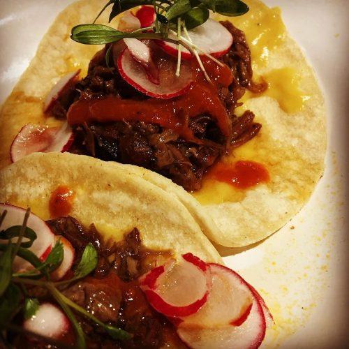 Beef mole taco