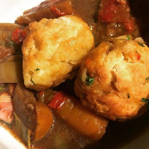 Beef and Mushroom Stew with Dumplings