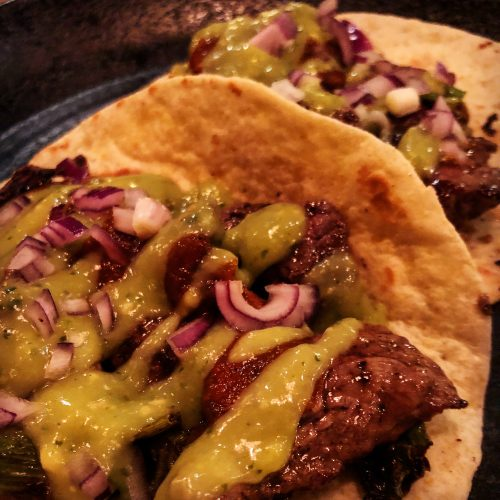 Chargrilled steak Baja Tacos with avocado & chipotle salsas