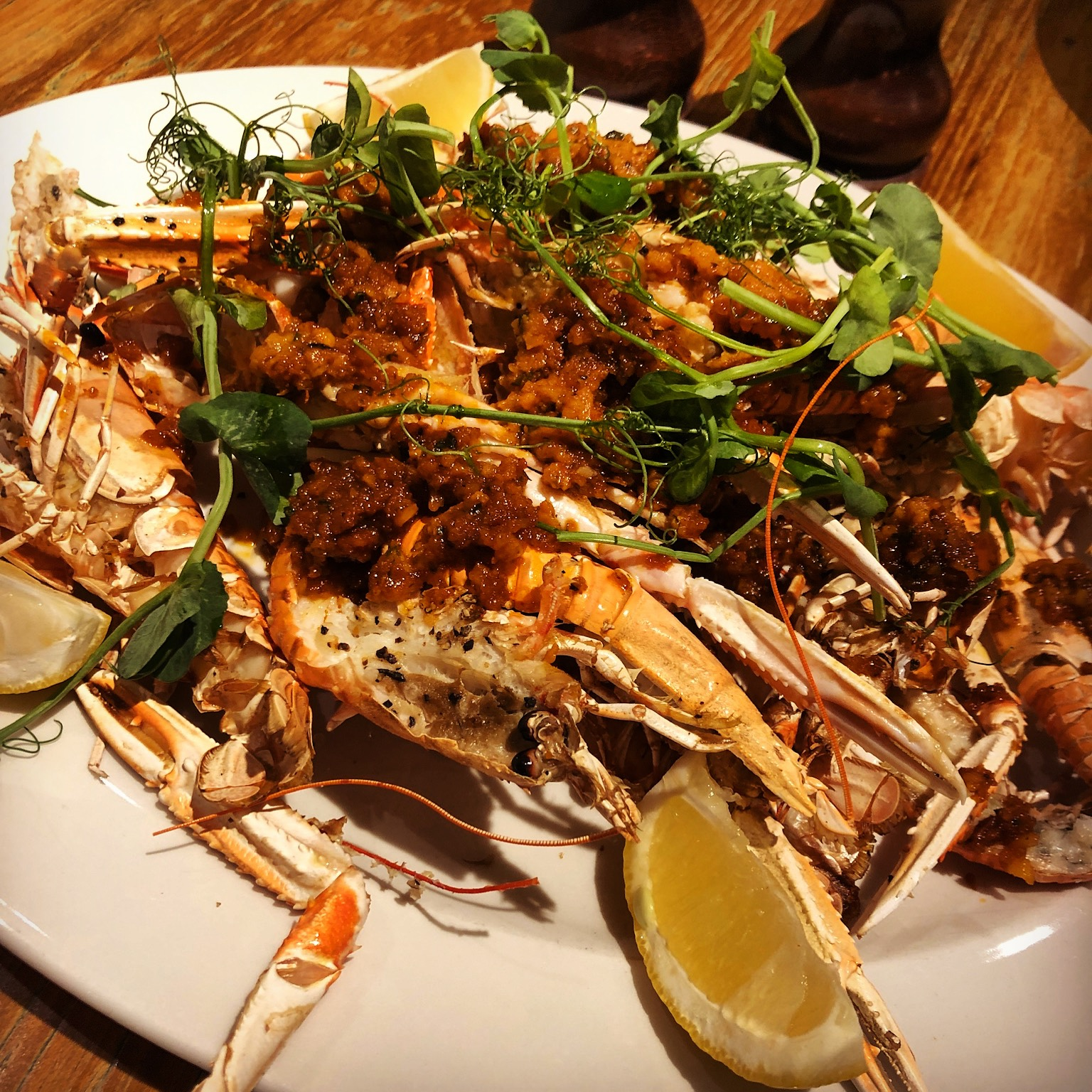 GRILLED SCOTTISH LANGOUSTINES (N) 29.95 with romesco sauce – sun-dried tomatoes, roast peppers, garlic, almonds
