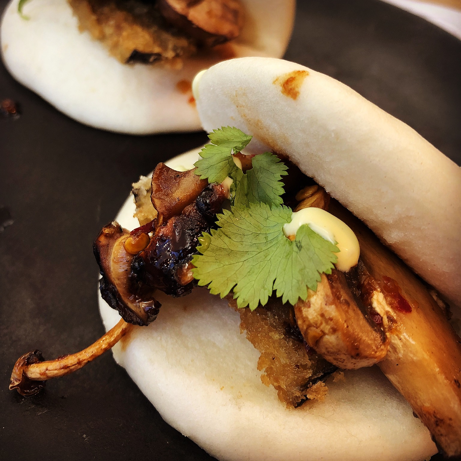 ixed Mushroom Hirata Buns - two fluffy asian buns stuffed with mixed mushrooms, panko aubergine, coriander and mayonnaise.