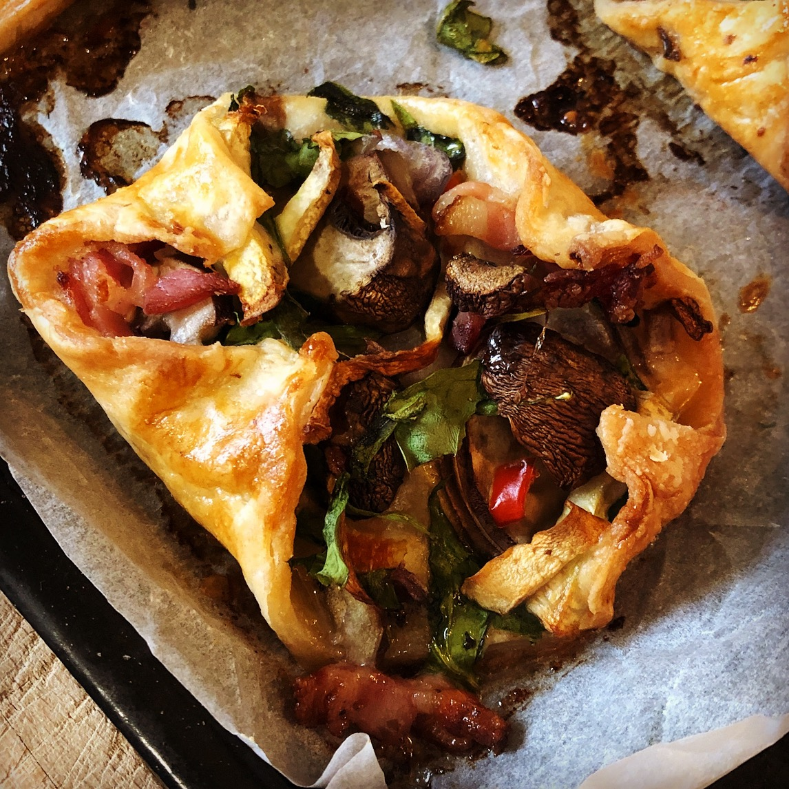 Gluten Free Mushroom, Spinach and Bacon Puffs